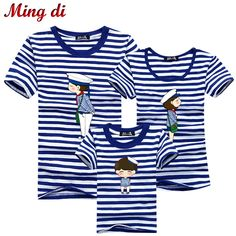 Ming Di Family Look Brand New Summer Family Matching Outfits Blue Striped T Shirt Short Sleeve Mother & Kids Children's Clothing Price: USD 8.15 | United States