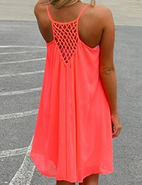 ROMWE offers Spaghetti Strap Hollow Shift Neon Red Dress & more to fit your fashionable needs. Dresses For Teens, Casual Dresses, Short Dresses, Summer Dresses, Slip Dresses, Chiffon Dresses, Mini Dresses, Dress Long, Dresses Online