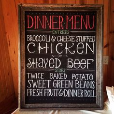 Courtney + Mason | 6.27.14 | Wedding ceremony and reception at Willow Creek  | Chalk board dinner menu