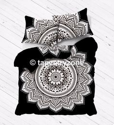 Black and White Ombre Mandala Duvet Doona Cover Comforter Queen Size Quilt Set #Handmade #Traditional #DoonaCoverDuvetCoverQuiltCover