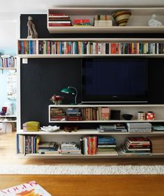 Horizontal book shelves around TV - dark wall color has nice contrast #decor
