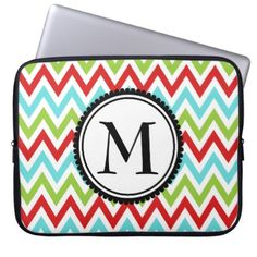 Colorful Chevron Zig Zag Monogram Red Green Blue Laptop Sleeve - initial gift idea style unique special diy