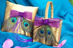 Gold and Peacock Feather Ring Bearer Pillow and Flower Girl Basket Set