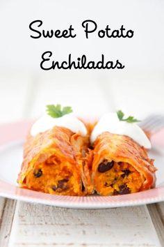 Sweet Potato Black Bean Enchiladas from Weelicious.com. Made using leftover sweet potatoes. #leftovers #recipes Thanksgiving Leftovers
