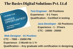 Job Openings for The Baiscs DIgital Sotions Pvt. Ltd.  Profiles :  1. Business Development Executive 2. Marketing Exeuctive  3. Test Engineer 4. Java Developer 5. Web Designer  Lcation:- Indore Those who are interested, kindly leave their Contact number or Comment to get the details. Indore, Job Posting, Career Opportunities, Java, Engineering, Web Design, Positivity, How To Get, Number