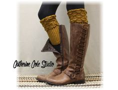 Lace boot cuffs SPICE SCALLOP Curry boot by LaceBootSocksbyCCole