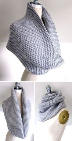 Free Knitting Pattern for Easy On the C Train Cowl - Knit in ribbing in the roun. Easy Knitting Pattern for Easy On the C Train Hood - Due to the elasticity of the hood, it is versatile and can be worn once or twice around the neck . Easy Knitting, Loom Knitting, Knitting Stitches, Knitting Scarves, Finger Knitting, Knitting Machine, Knit Cowl, Crochet Shawl, Crochet Lace