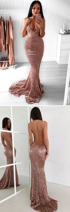 Mermaid Spaghetti Straps Backless Sweep Train Rose Pink Sequined Prom Dress