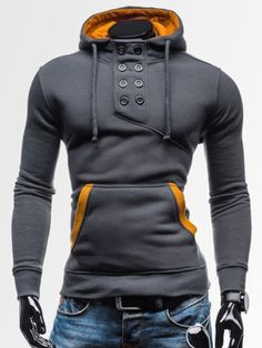 Sweat Hoodie a Capuche Boutons Sportswear Outwear Style Men Homme Fashion Gris Fonce Fashion Brand, Mens Fashion, Fashion Design, Fashion 2017, Mode Costume, Sport Outfit, Hooded Sweater, Mode Inspiration, Cool Outfits
