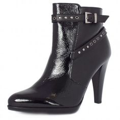 Peter Kaiser Peli Modern High Heel Ankle Boots In ... Peter Kaiser Peli 96203/615 Black Crackle Nappa Black patent and nappa leather Leather lining 95mm cone heel £175 Was £195