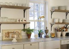 Pretty Kitchen. Love The Shelves Instead Of Cabinets. It Forces You To  Organized U0026