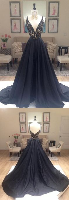 Black A-line Elegant Deep V-Neck Prom Dresses, Black Long Evening Part – SposaDesses