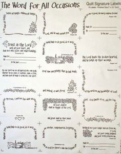 """Words for All Occasions 15 Quilt Labels - White: This 18"""" x 22"""" fat quarter contains 15 Christian hearted quilt labels. Background is white with black writing."""