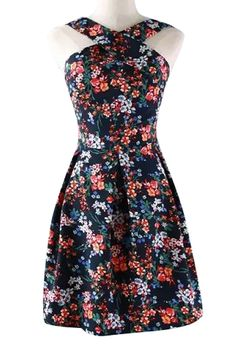 Cross V-Neck Floral Print Off-The-Shoulder Dress