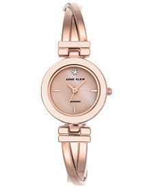 Rose Gold Tone Petite Crystal Watch     Wantable