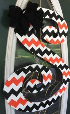 Curly Chevron Letter Monogram Door Hanger by EllieBelliesSigns