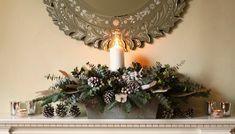 Winter whites natural mantle piece arrangement