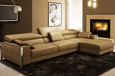Modern minimal leather sectional couch