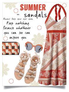 """Summer Sandals"" by juliehooper ❤ liked on Polyvore featuring Patagonia, Elina Linardaki, Orla Kiely, Kaleos and summersandals"