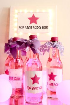Popstar Soda Bar: sign is made from 8x10 art canvas with clear lights poked through