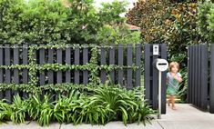 simple front fence: black fence w espalier Backyard Fences, Garden Fencing, Backyard Landscaping, Pool Fence, Landscaping Ideas, Patio Fence, Farm Fence, Garden Beds, Grey Fences