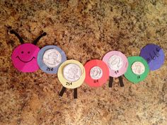 Coin caterpillars!! Making these with the kiddos during our math money unit! :)