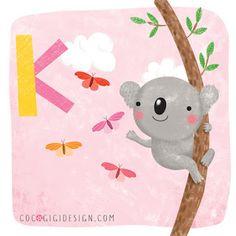 K is for koala J is for Japanese macaque © Gina Maldonado 2016 cocogigidesign.com #alphabet #cute #animals