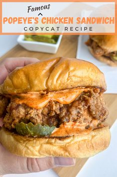 Popeyes Famous Chicken Sandwich Copycat Recipe - Bad Batch Baking - - Crispy, spicy and tangy, this copycat version of the virally famous Popeyes Chicken Sandwich is everything! Popeyes Chicken Sandwich Recipe, Spicy Chicken Sandwiches, Fried Chicken Sandwich, Chicken Recipes, Recipe Chicken, Baked Chicken, Crispy Chicken Burgers, Baked Sandwiches, Spicy Fried Chicken