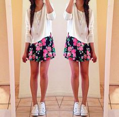 Sweater, floral skirt, white converse. Cute spring outfit