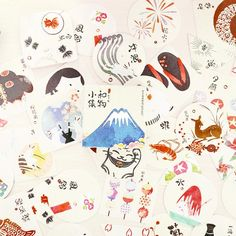 Japanese Decorative Paper Sticker Set: Fuji