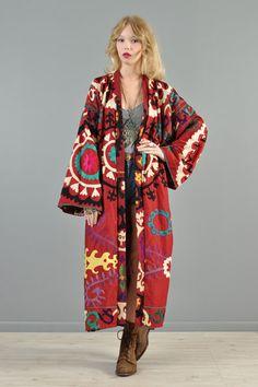 Uzbek suzani... bustown-modern-vintage-red-ethnic-eastern-european-embroidered-maxi-tapestry-coat