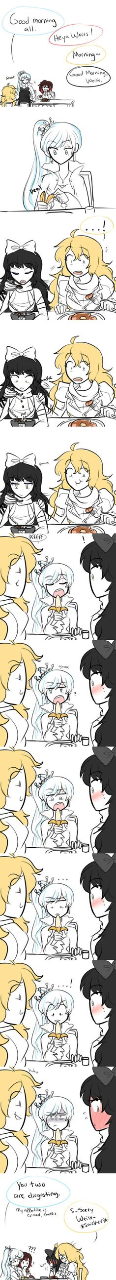 At Breakfast... I like how Ruby is all confused.. This is why I can't eat around others. XD aww yisss RWBY