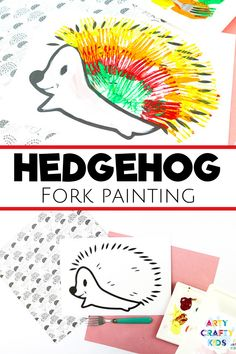 Looking for fun fork painting for kids ideas for children to make at home or at school? These hedgehog fork paintings for kids are perfect for fall and easy enough for preschoolers! Get printable craft templates for these hedgehog crafts for kids, plus other woodland animal crafts for kids, here! Fork Painting for Kids Animals | Hedgehog Kids Crafts | Autumn Crafts for Kids | Fall Crafts for Kids | Forest Animal Crafts for Kids | Fall Animal Crafts for Kids | Autumn Animal Crafts for Kids Animal Crafts For Kids, Easy Arts And Crafts, Summer Crafts For Kids, Crafts For Kids To Make, Kids Crafts, Art For Kids, Paper Animal Crafts, Forest Animal Crafts, Fox Crafts