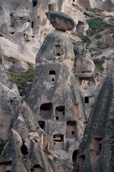 Cut Rock Cave homes and buildings in Cappadocia, Turkey.