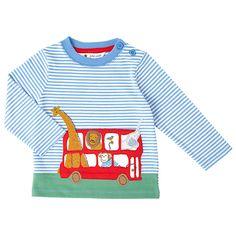 Buy John Lewis Baby Animal Safari Bus Long Sleeve Top, White/Blue, Newborn Online at johnlewis.com