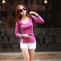 Europe and America 2015 spring new Korean women were thin studs fake two female backing t shirt cotton t shirt-in T-Shirts from Women's Clothing & Accessories on Aliexpress.com | Alibaba Group