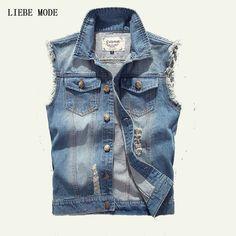 M-4XL 5XL Plus Size Summer Men's Sleeveless Jean Jackets Vest Of Men Denim Vests Waistcoat Big Size Chaleco Hombre