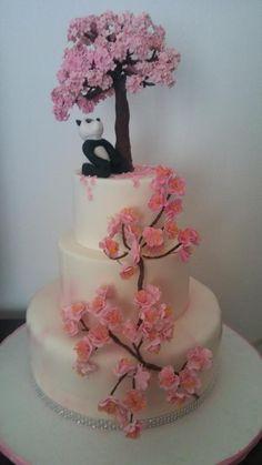 Torta fiori di pesco con panda - Cake by Cakemomi