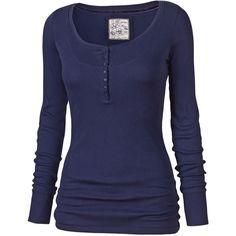 Designer Clothes, Shoes & Bags for Women Blue Long Sleeve Tops, Long Sleeve Henley, Long Sleeve Shirts, Women's Henley, Henley Shirts, Scene Girl Fashion, Women's Fashion, Rare Clothing, Blue Tops