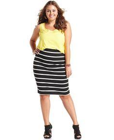 Soprano Plus Size Skirt, Striped Pencil - Junior Plus Size - Plus Sizes - Macy's