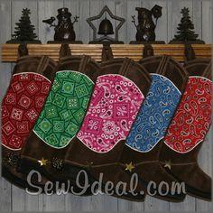 Christmas Stockings- Western Cowboy Boots-Paisley- Bandana- Breast Cancer