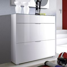 California High Gloss Shoe Cabinet In White With Grey Top