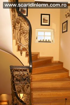 scari interioare lemn masiv, mana curenta de lemn curbat, placare trepte de lemn, preturi scara Stairs, Design, Home Decor, Interiors, Stairway, Decoration Home, Room Decor, Staircases
