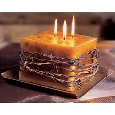 Rustic Barbwire Candle. This is cute and could totally go with a centerpiece!