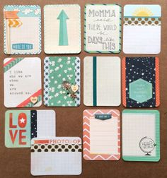 Dozen Handmade Project Life Cards 3x4 by jessicabree on Etsy  Matches Coral core kit