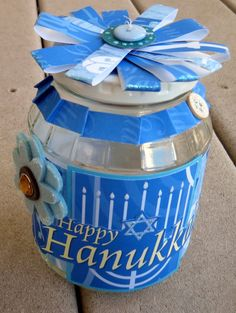 Hanukkah altered jar - Scrapbook.com