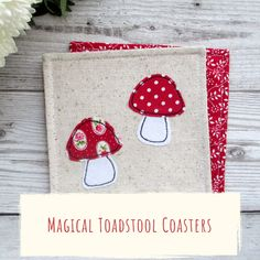 A set of 4 red toadstool coasters, the perfect woodland themed decor, a totally unique housewarming gift for any nature lover! Our coasters are made using free motion machine embroidery which allows us to draw freehand with the needle and thread of the sewing machine, meaning no two coasters are exactly the same! #woodlanddecor #falldecor #tabledecor #coasters #fabric #handmade #homedecor