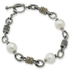 Sterling Silver with 14k Yellow Gold 9.5-10mm Freshwater Cultured Pearl 7.5in Bracelet Jewelry Pot. $138.99. 100% Satisfaction Guarantee. Questions? Call 866-923-4446. Your item will be shipped the same or next weekday!. All Genuine Diamonds, Gemstones, Materials, and Precious Metals. Fabulous Promotions and Discounts!. 30 Day Money Back Guarantee