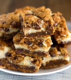 Peanut Butter Chocolate Chip Cookie Cheesecake Bars. Yes, they taste as good as they look.