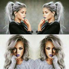 rihanna grey hair ombre silver hair